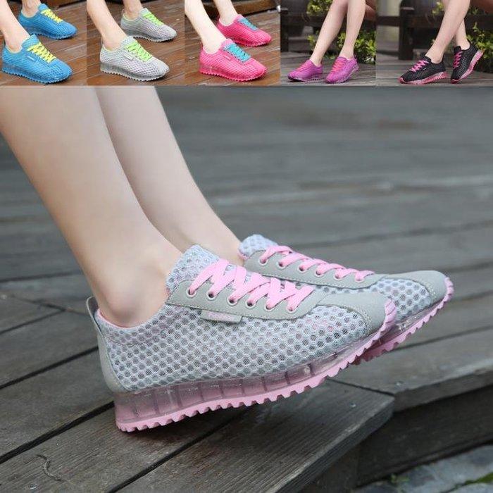 夏季鏤空網鞋女學生運動鞋軟底網布增高休閒鞋單網面透氣跑步鞋媽一件免運