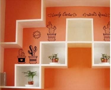 小妮子的家@太陽與仙人掌貼壁貼/牆貼/玻璃貼/汽車貼/安全帽貼/磁磚貼/家具貼