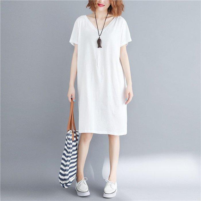六色供選-寬鬆顯瘦後背交叉設計V領短袖連身裙及膝裙短裙洋裝 中大尺碼 L ~ 5XL