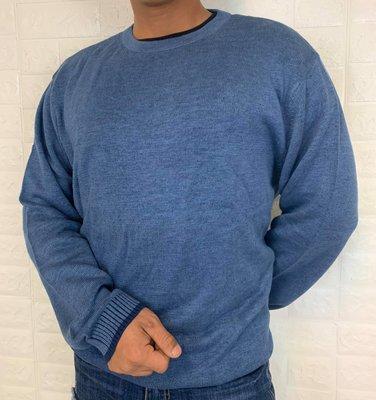 ESPRIT 男款 韓系素色藍 氣質文青 素面針織長袖上衣 毛衣