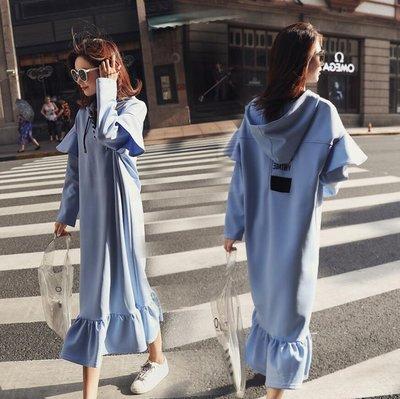 長裙 魚尾裙 長款衛衣連身裙 韓版寬松長袖慵懶風荷葉裙過膝長裙—莎芭