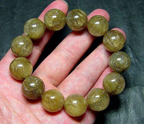 【小熊水晶窩】超美!稀少罕見大顆粒!綠銀鈦晶手鍊 01 重83克 燈光下閃耀著銀光髮絲