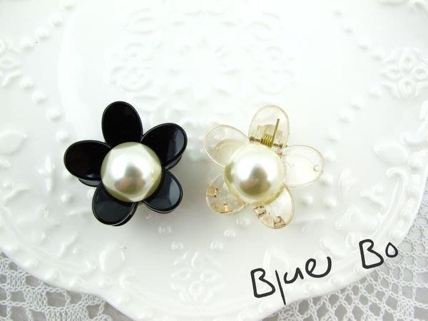 ~*BlueBo*~Korea 韓國飾品 珍珠花朵小鯊魚夾    小抓夾-3cm