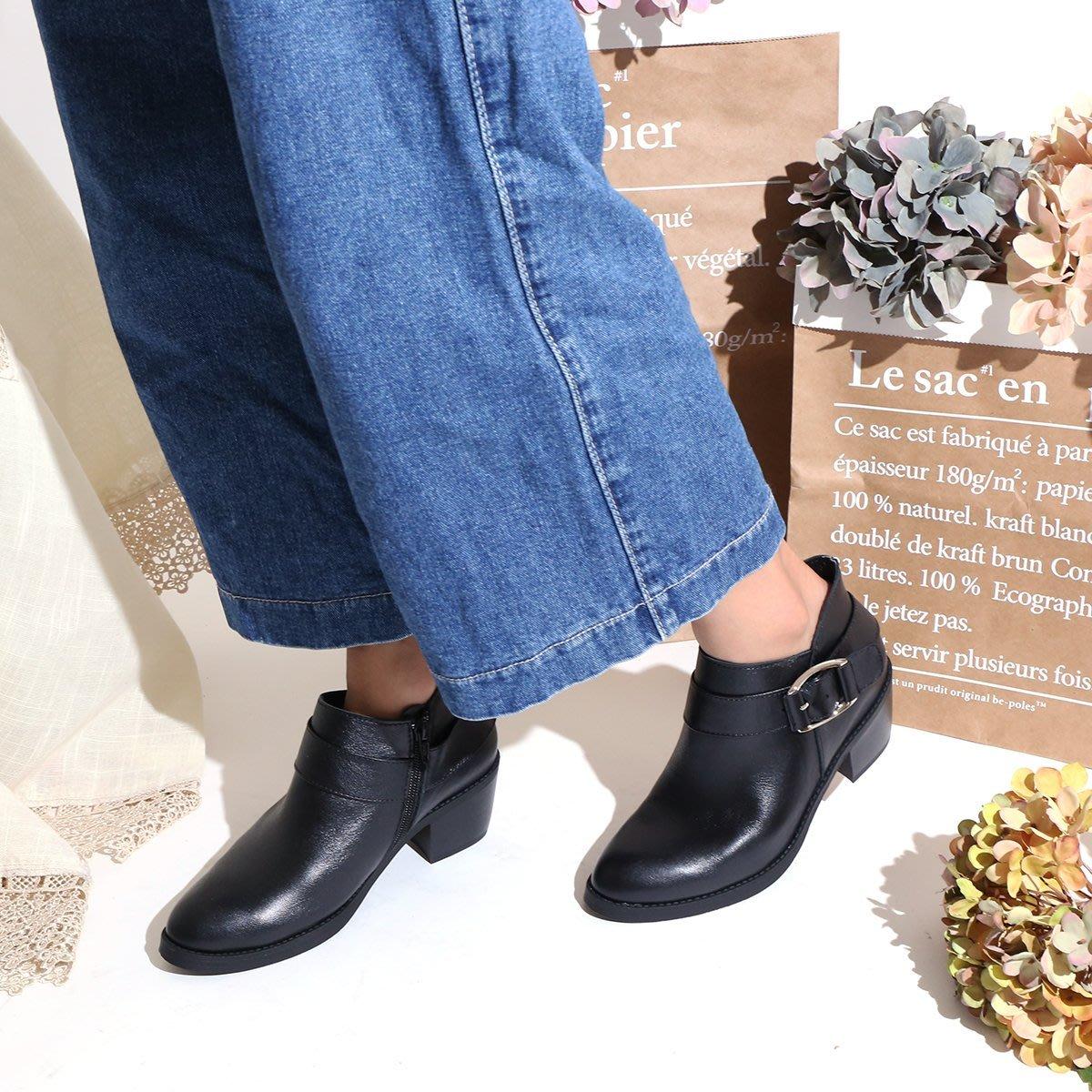 220短靴 柔軟氣墊底 單邊金屬釦飾側V口修飾真皮短靴 機車靴 馬靴 MIT台灣手工鞋 丹妮鞋屋