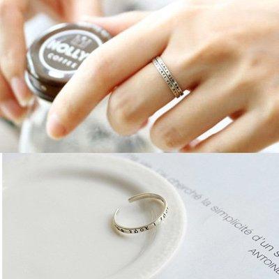 S925純銀精品花戒指 女日韓國簡約百搭希臘字母文字復古個性食指指環