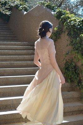 星星小店WANTING晚《玉簍春》提花改良旗袍+暗紋百褶吊帶仙女風國風連衣裙
