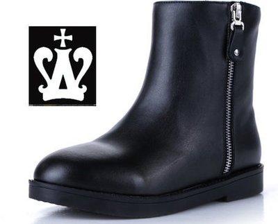 =WHITY=韓國GRAMMI品牌 韓國製全真皮小厚底名牌精品短靴 S3KG451