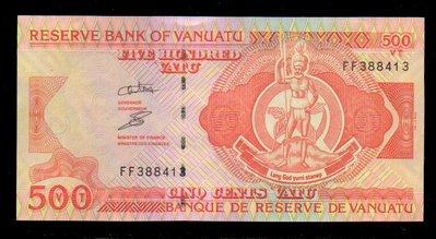 【低價外鈔】萬那杜1993年500Vatu紙鈔一枚,少見~