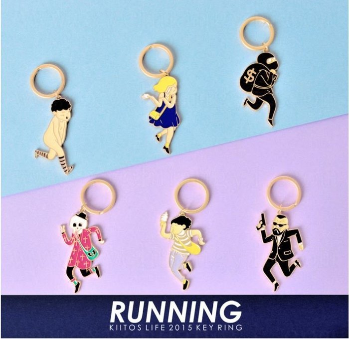 MR.PAPA (現貨)【M-6003-RUNNING】Kiitos-鑰匙圈-裸奔奔跑少年淚奔女孩骷髏小偷殺手