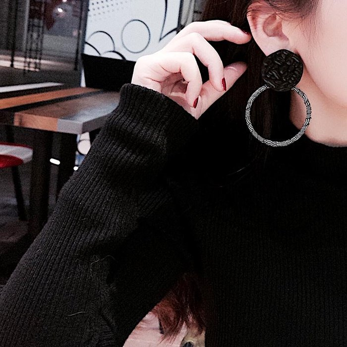 FEI日韓代購~復古金屬幾何圓圈大耳環夸張個性格子圓環耳墜耳釘簡約潮人耳飾品