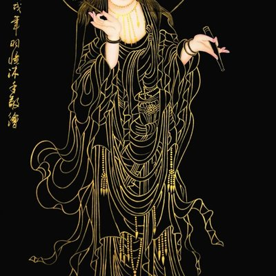 【三顧茅廬】葉羽憶老師真跡 最新力作 四尺豎幅精品《觀音寶像》美極了!