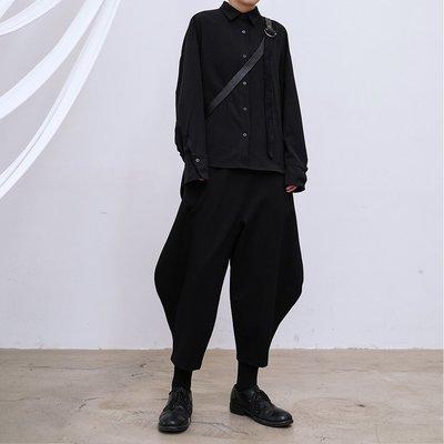 【鈷藍家】SU自制yohji風小眾山本暗黑前短后長基本款百搭黑襯衫