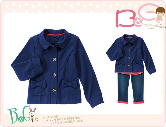 【B& G童裝】正品美國進口GYMBOREE 口袋蝴蝶結藍色內軟刷毛長袖外套XS,S號 4,4-6yrs