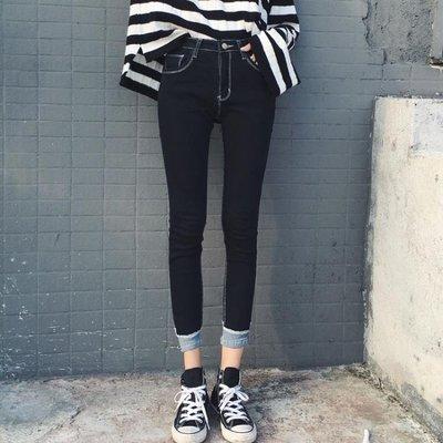 2019夏季新款韓版彈力緊身九分牛仔褲女學生顯瘦小腳鉛筆長褲子潮