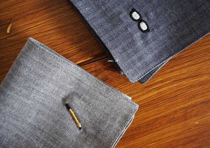 京都 禮品 【ハンカチベーカリー】日本製 眼鏡 鋼筆 刺繡 紳士 方巾 手帕 手巾(大)