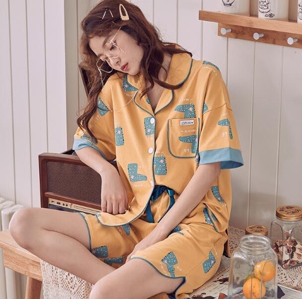 睡衣 夏季純棉短袖T恤+短褲 韓版套裝 兩件套裝可外穿居家服 閨蜜裝—莎芭