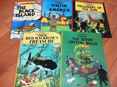 丁丁歷險記Black island. Treasure .The seven crystal balls (書況新)5本