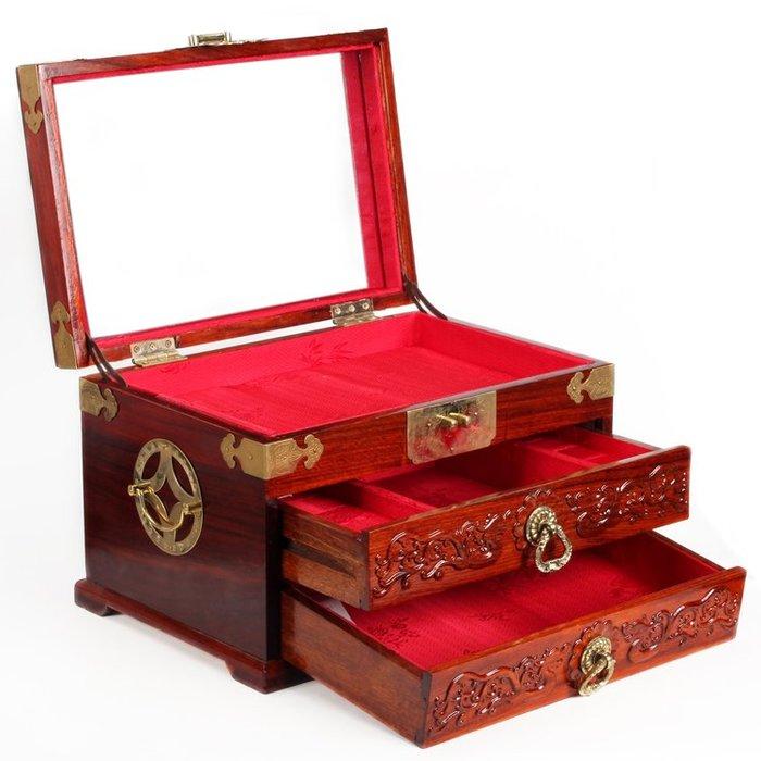 紅木首飾盒結婚慶大號珠寶箱 實木質中式復古手飾品收納盒子帶鎖
