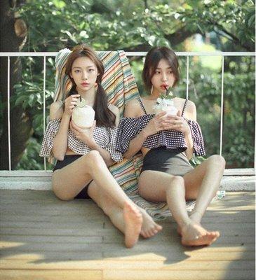韓國 復古 泳衣  一字領 露肩 溫泉 高腰泳衣 荷葉邊 少女 學生 清新 比基尼