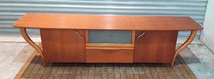 二手家具 台中 樂居全新中古傢俱買賣 A0403BJJH 柚木色7尺電視櫃 TV櫃 平面櫃 高低櫃*零碼家具沙發茶几桌