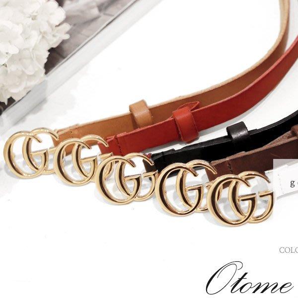 Otome.shop 正韓國空運 名品雙G金頭/銀頭細版皮帶【7AUG3-9341220】