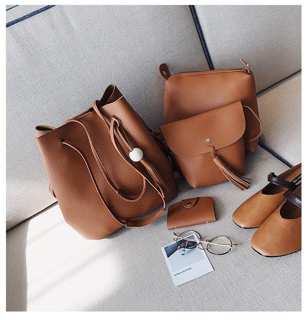滿額免運【BAG0010】日韓風水桶包女包子母包 時尚流蘇木珠手提包單肩包斜背包四件組