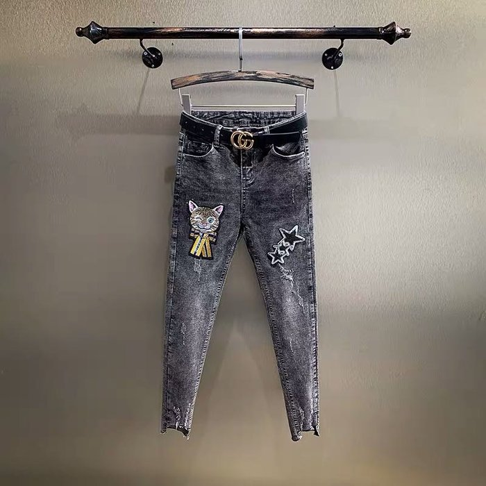 PapaDarling 20SS 卡通貓咪刺繡高腰直筒顯瘦破洞 鉛筆褲 牛仔褲