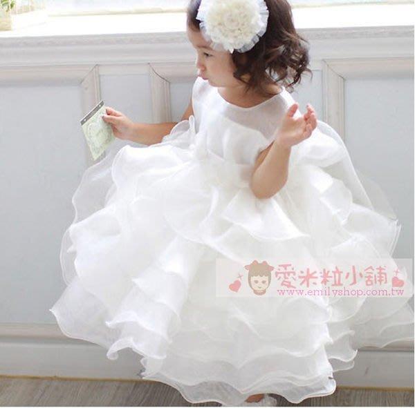 兒童禮服 白色無袖蛋糕蓬蓬裙 花童婚紗澎澎裙 花童結婚拍照 ☆愛米粒☆ A23