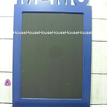 *︵House傢飾︵*zakka鄉村復古風格木製MEMO黑板  留言板(壁掛式)-藍【☆限量款/新發售☆】
