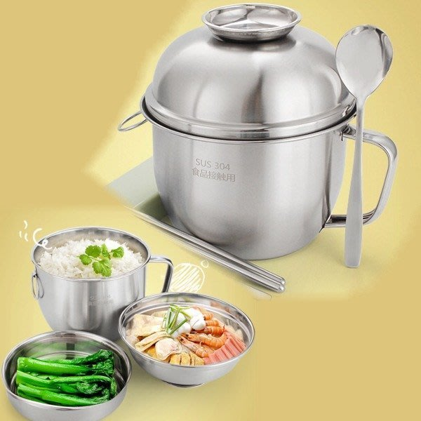 5Cgo【批發】含稅 538252072272 304不鏽鋼泡麵拉麵碗可電磁爐加熱快餐杯學生員工分格飯盒便當多層雙層可愛