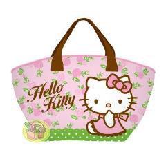 【JPGO日本購 】韓國進口 三麗鷗 Hello Kitty 凱蒂貓 保冷保溫便當袋~粉綠色#680