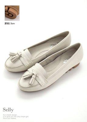 Selly outlet 優雅雙流蘇-牛皮柔軟厚底莫卡辛休閒鞋(03S83)杏米41號