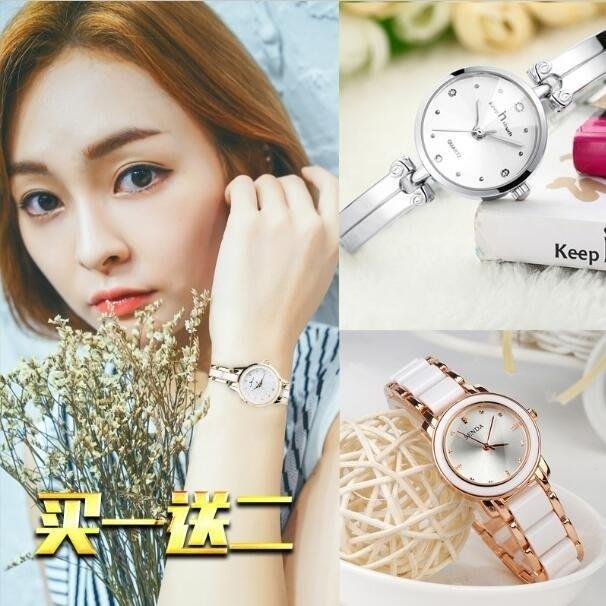 現貨/手錶水鑽陶瓷正韓潮流時尚學生防水機械石英錶鋼帶時裝手?錶女錶165SP5RL/ 最低促銷價