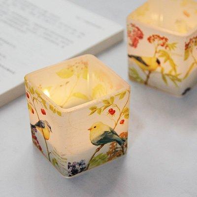 熱銷#新中式花鳥印花6CM印玻璃燭臺浪漫DIY香薫蠟空杯裝飾擺設送電子蠟#燭臺#裝飾
