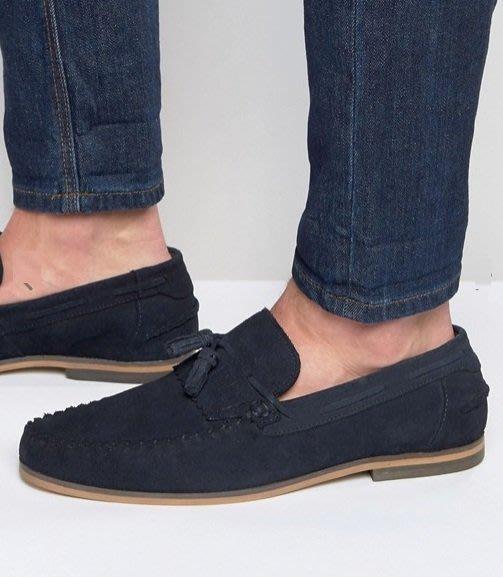 ◎美國代買◎ASOS流蘇裝飾鞋面麂皮材質英倫雅痞風無鞋帶流蘇麂皮帆船鞋樂福鞋~歐美街風~大尺碼