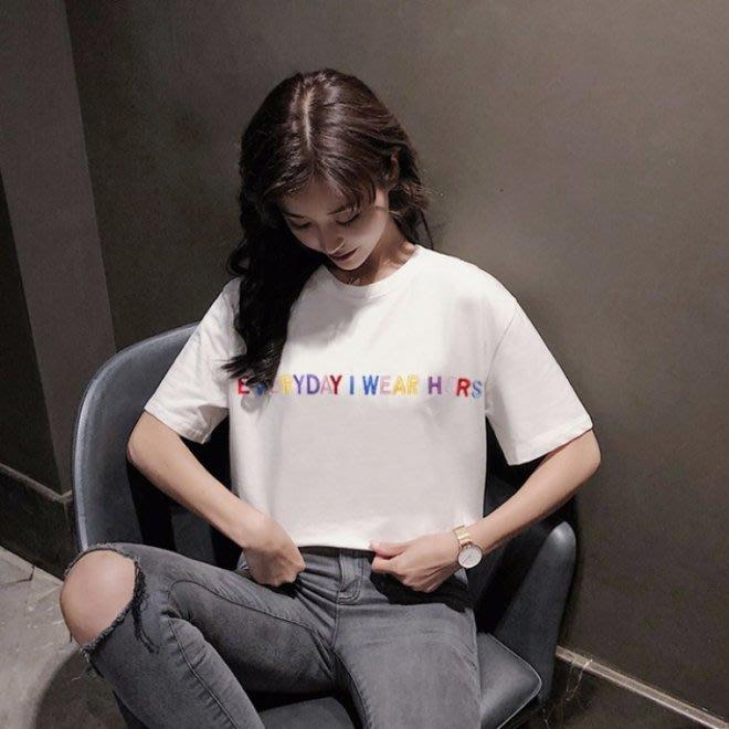 FINDSENSE G6 韓國時尚潮流 2019新款百搭寬鬆字母刺繡圓領短袖綠色短袖T恤女上衣打底衫圓領T恤