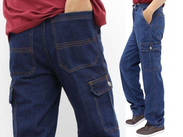 潮的家 牛仔褲 雙側大口袋 工作褲250元