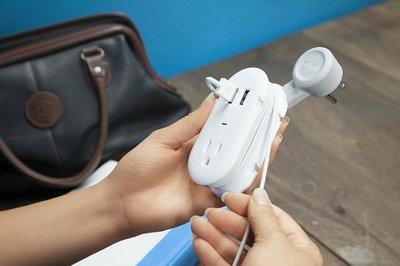 三合一: 延伸插座+2組USB+捲線器 美國原裝Quirky Pivot Power Contort 2.0
