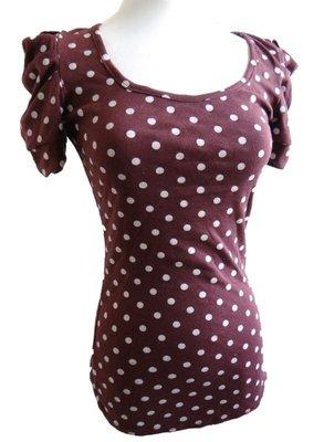 長版 T恤 公主袖 圓領 短袖 上衣 內搭衣 Tee Tshirt 甜美 白色圓點 紫色 甜@紐約