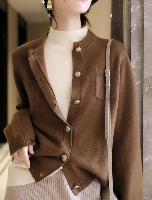 柔軟俐落有型羊毛混紡針織外套/夾克 1143
