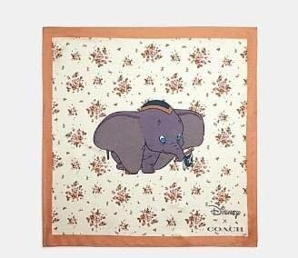 COACH X 迪士尼聯名款89846花花桑普兔89847小飛象89848忠狗圖案100%真絲方形絲巾