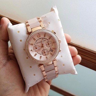 Michael Kors 玫瑰金 水鑽 粉色 鋼帶 三眼計時 MK錶 MK手錶  MK5896  MK6110