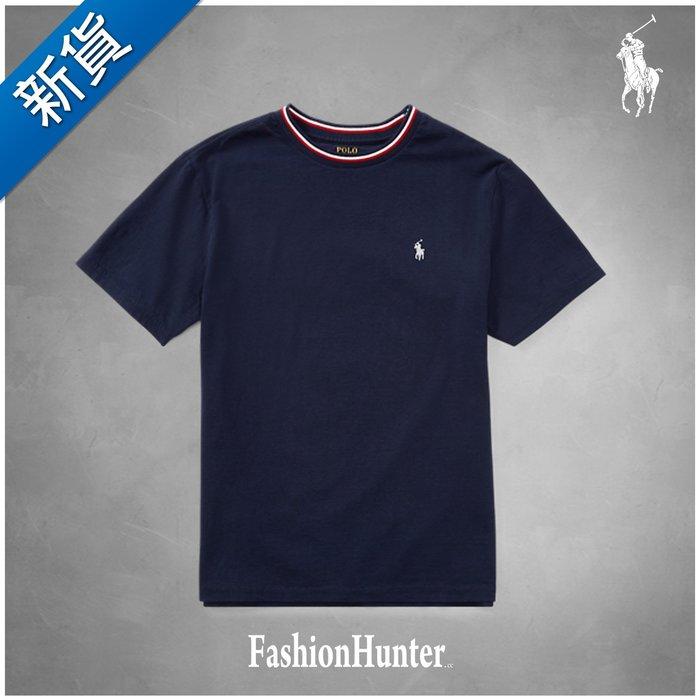 新貨【FH.cc】Polo Ralph Lauren 撞色領口短袖T恤 素t 刺繡小馬 青年款 RL 官網版 海軍藍