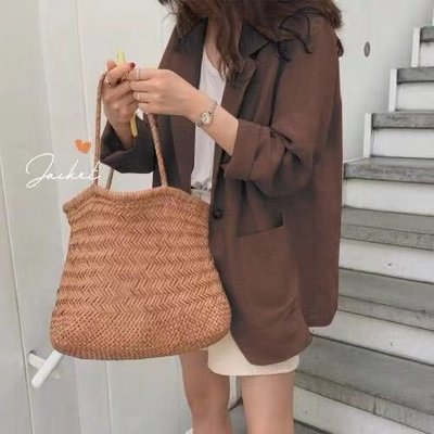 ☆Bubble Lady ☆ 現貨【C1484】翻領 寬鬆 棉麻 西裝 外套