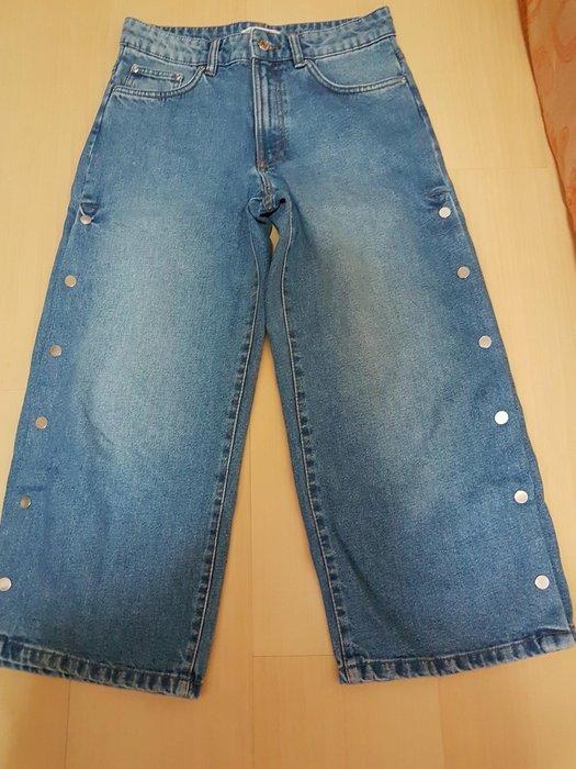 二手zara潮型厚磅單寧寬褲36號布料無彈性,商品如圖閒置出清售出無退換貨服務