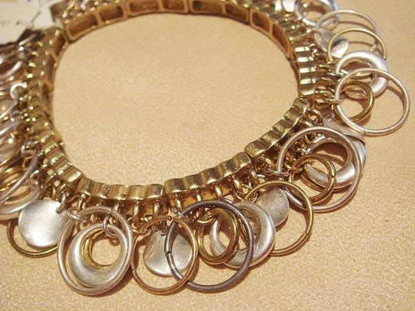 全新從未戴過,christopher & banks 高質感銀圈圈金圈圈造型手環,低價起標無底價!本商品免運費!