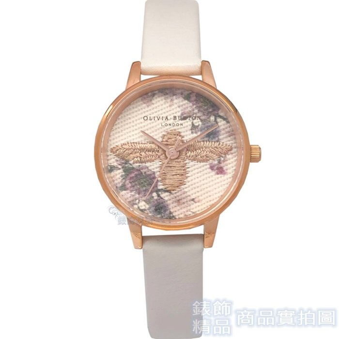 OLIVIA BURTON OB16EM06 刺繡蜜蜂花卉 灰色錶帶30mm【錶飾精品】