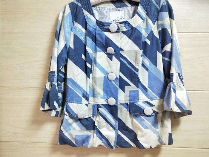 丹丹衣坊--歐款藍灰色幾何圖案小外套