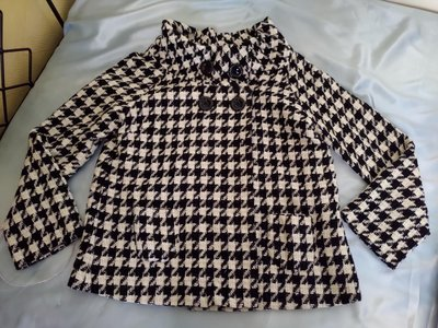 [99go] 日本專櫃 LA.SUMER 大領口 八分袖 羊毛 千鳥格紋  傘狀短大衣 40號 大M-XL號 日本製