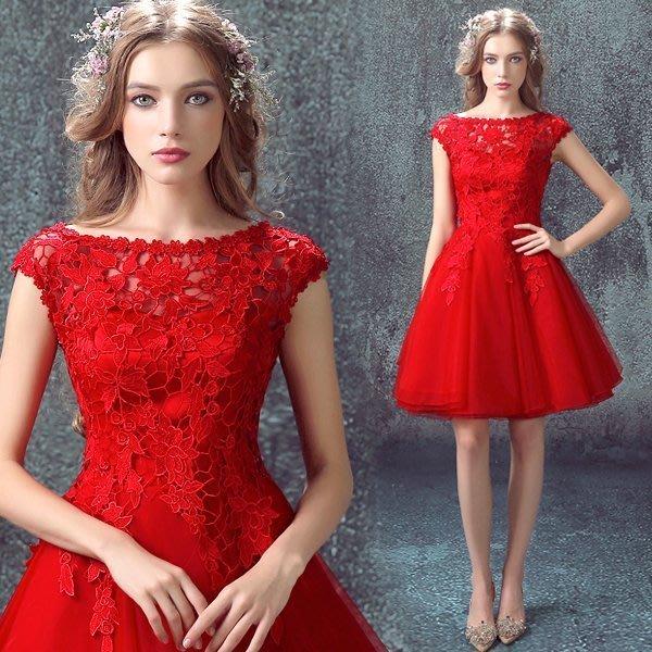 大小姐時尚精品屋~~新款红色蕾丝短款禮服~3件免郵